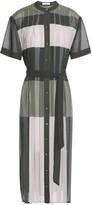Equipment Pleated Color-block Chiffon Midi Dress