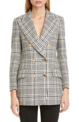 Gucci Double Breasted Check Wool Blend Tweed Blazer