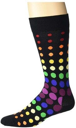 Happy Socks Pride Faded Disco Dot Sock (Black Combo) Men's Crew Cut Socks Shoes