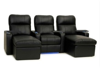 Red Barrel Studioâ® Contemporary Upholstered Leather Home Theater Sofa (Row of 3) Red Barrel StudioA Upholstery: Ultra Black, Recliner Type: Power