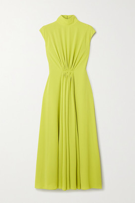 Emilia Wickstead Valencia Gathered Crepe Midi Dress - Lime green