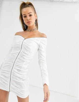 Kikiriki off shoulder zip through ruched vinyl bodycon dress in white
