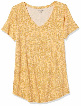 Amazon Essentials Women's Relaxed-Fit Patterned Short-Sleeve V-Neck Tunic