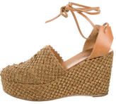 Robert Clergerie Raffia Lace-Up Wedges