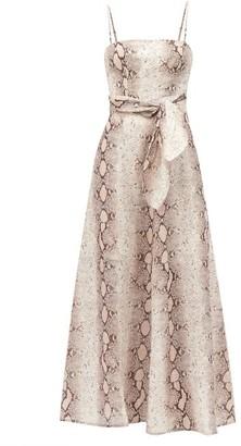 Zimmermann Bellitude Python-print Linen Dress - Beige Print