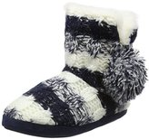 totes Women Ladies Stripe Knit Boot Hi-Top Slippers,S UK 36/37 EU