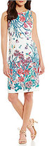 Adrianna Papell Botanical Floral Printed Lace Sheath Dress