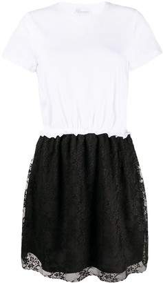 RED Valentino Lace Skirt Short-Sleeved Dress