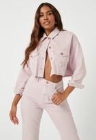 Missguided Blush Co Ord Raw Hem Oversized Denim Jacket