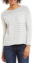 Vince Camuto Two by Long Sleeve Mixed Ink Stripe One-Pocket Tee