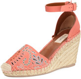 Valentino Embroidered Wedge Espadrille, Coral