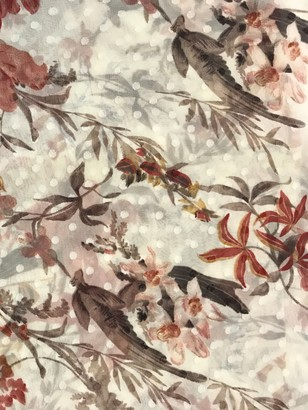 Viscount Textiles Flowers Print Fabric, Red/Neutral