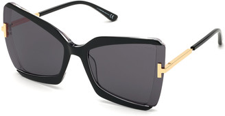 Tom Ford Gia Semi-Rimless Butterfly Sunglasses