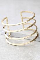 LuLu*s Taking a Chance Gold Cuff Bracelet