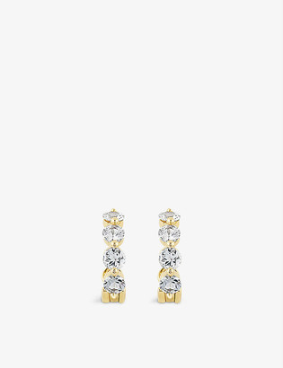 THE ALKEMISTRY Dinny Hall Shuga 14ct yellow-gold and white sapphire huggie hoop earrings