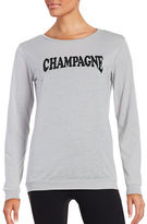 Betsey Johnson Champagne Graphic Jersey Knit Long-Sleeve T-Shirt