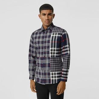 Burberry Cassic Fit Patchwork Check Cotton Shirt