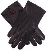 Black Men's Silk Lined Leather Gloves
