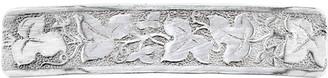 1928 Silver Tone Floral Leaf Rectangle Barrette