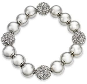 Alfani Silver-Tone Pave Ball Stretch Bracelet, Created for Macy's