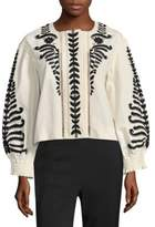 Tory Burch Embroidered Button-Front Jacket