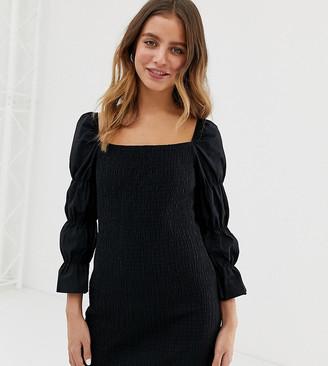 Bershka square neck shirred dress in black