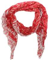 Armani Jeans Bordered Red Wool Mix Logo Scarf