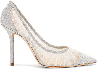 Jimmy Choo Love 100 Fine Glitter Heel in Ivory & Silver   FWRD