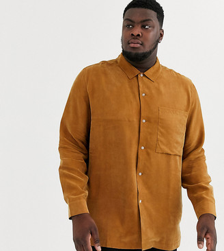 ASOS Plus regular fit shirt in camel