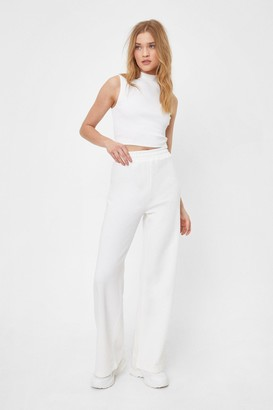 Nasty Gal Womens Set the Record Straight Top and Wide-Leg Pants Set - Ecru