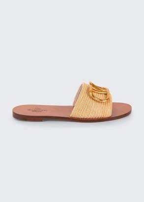 Valentino Garavani VLogo Flat Raffia Slide Sandals