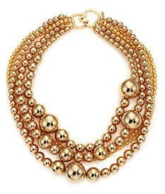 Kenneth Jay Lane 5 ROW-18KT Gold Plate-Multi Size Bead Necklace