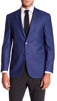 David Donahue Connor Medium Blue Check Wool Classic Fit Sport Coat