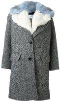 Carven fur trimmed lapel coat