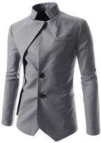 Whatlees What Lees Mens One Button Contrast Split Slim Fit Blazer Coat -M