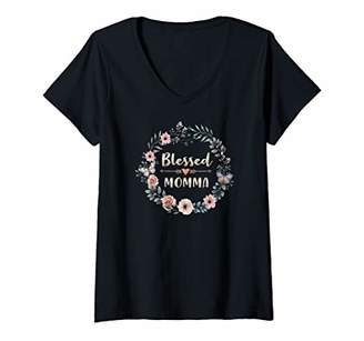 Womens Thanksgiving and Birthday Gift Blessed Momma V-Neck T-Shirt