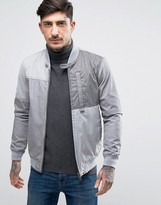 Pretty Green Grainger Bomber Jacket Patchwork In Light Grey
