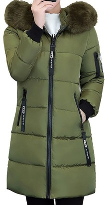 Homebaby Women Winter Coat Women Long Cotton Padded Coat Faux Fur Hooded Winter Parka Down Lammy Jacket Ladies Warm Quilted Padded Lightweight Trench Outwear Long Sleeve Tops Cardigan Army Green