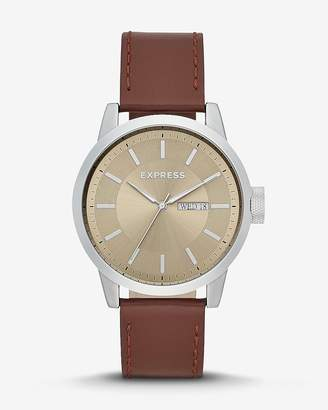 Express Empire Brown Leather Silver Multi-Function Watch