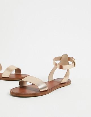 Aldo camporodo leather two part flat sandals in metallic