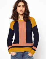 BA&SH Colour Blocked Jumper in Chunky Knitted Cotton