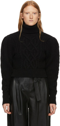 Wandering Black Cable Knit Open Back Sweater