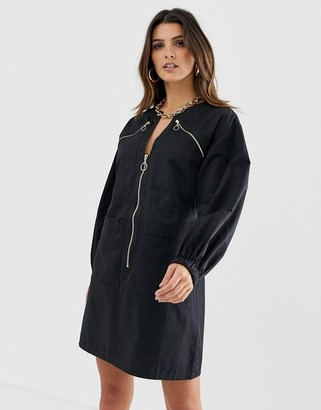 Asos Design DESIGN chuck on utility mini shift dress with zips-Black