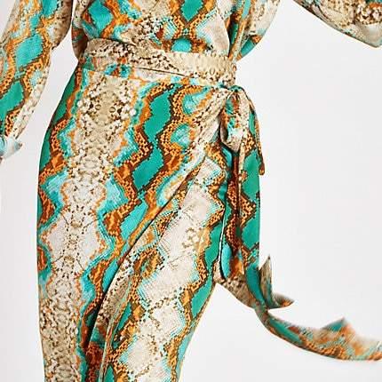 River Island Turquoise snake print wrap midi skirt