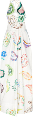 Rosie Assoulin Paisley-Print Cotton-Poplin Halterneck Maxi Dress