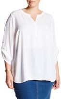Daniel Rainn Split Neck Roll Sleeve Blouse (Plus Size)