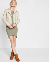 Express beige (Minus the) leather zip moto jacket