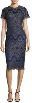 Catherine Deane Short-Sleeve Metallic Lace Sheath Dress, Gunmetal/Sapphire