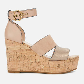 Coach Women's Isla Metallic/Cork Wedged Sandals - Dusty Gold/Beachwood