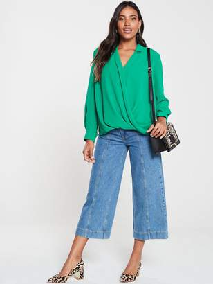 Very Mock Wrap Blouse - Green